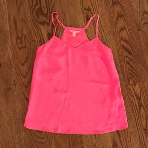 Lilly Pulitzer Silk Hot Pink Tank Top